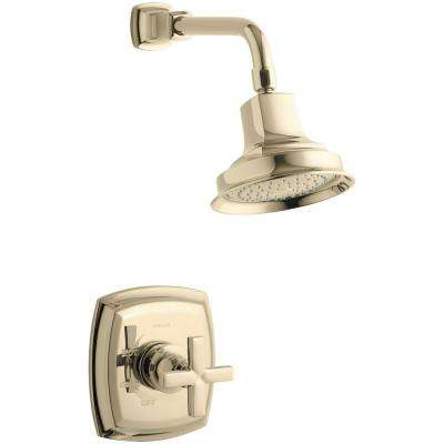 Margaux 1-Spray 6.5 in. 2.5 GPM Fixed Shower Head with Cross Handle in French Gold