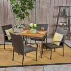 Walker Multi-Brown 5-Piece Wood and Wicker Outdoor Dining Set