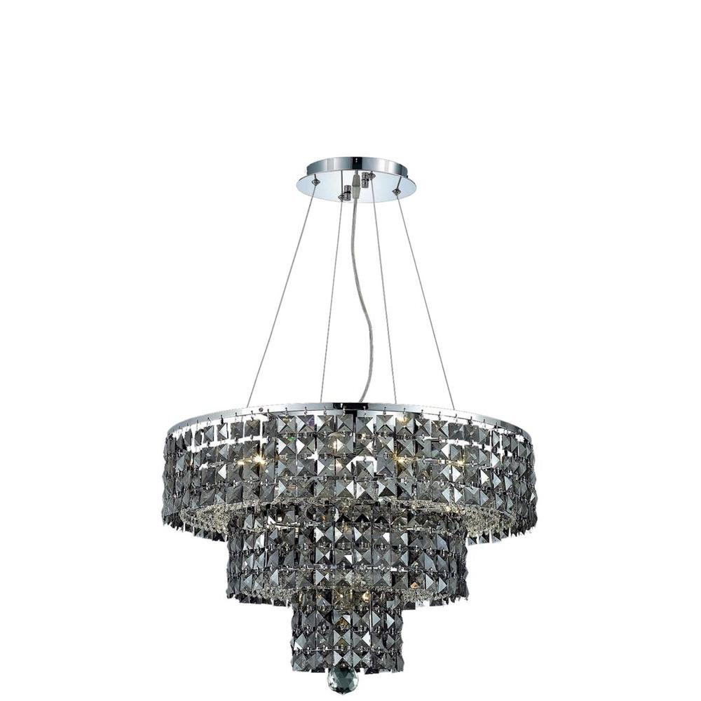 9-Light Chrome Chandelier with Silver Shade Grey Crystal