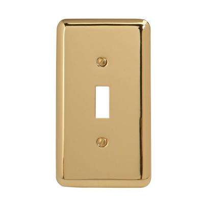 Steel 1 Toggle Wall Plate - Bright Brass