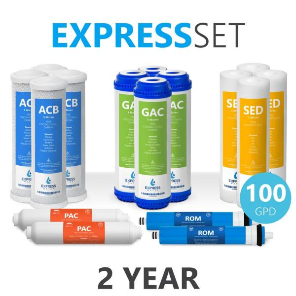 Express Water – 2 Year Reverse Osmosis System Replacement Filter Set – 16 Filters with 100 GPD RO Membrane – 10 in Size