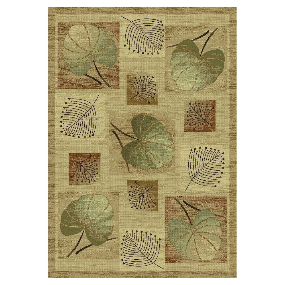Kas Rugs Styled Leaves Beige 5 ft. 3 in. x 7 ft. 7 in. Area Rug-DISCONTINUED