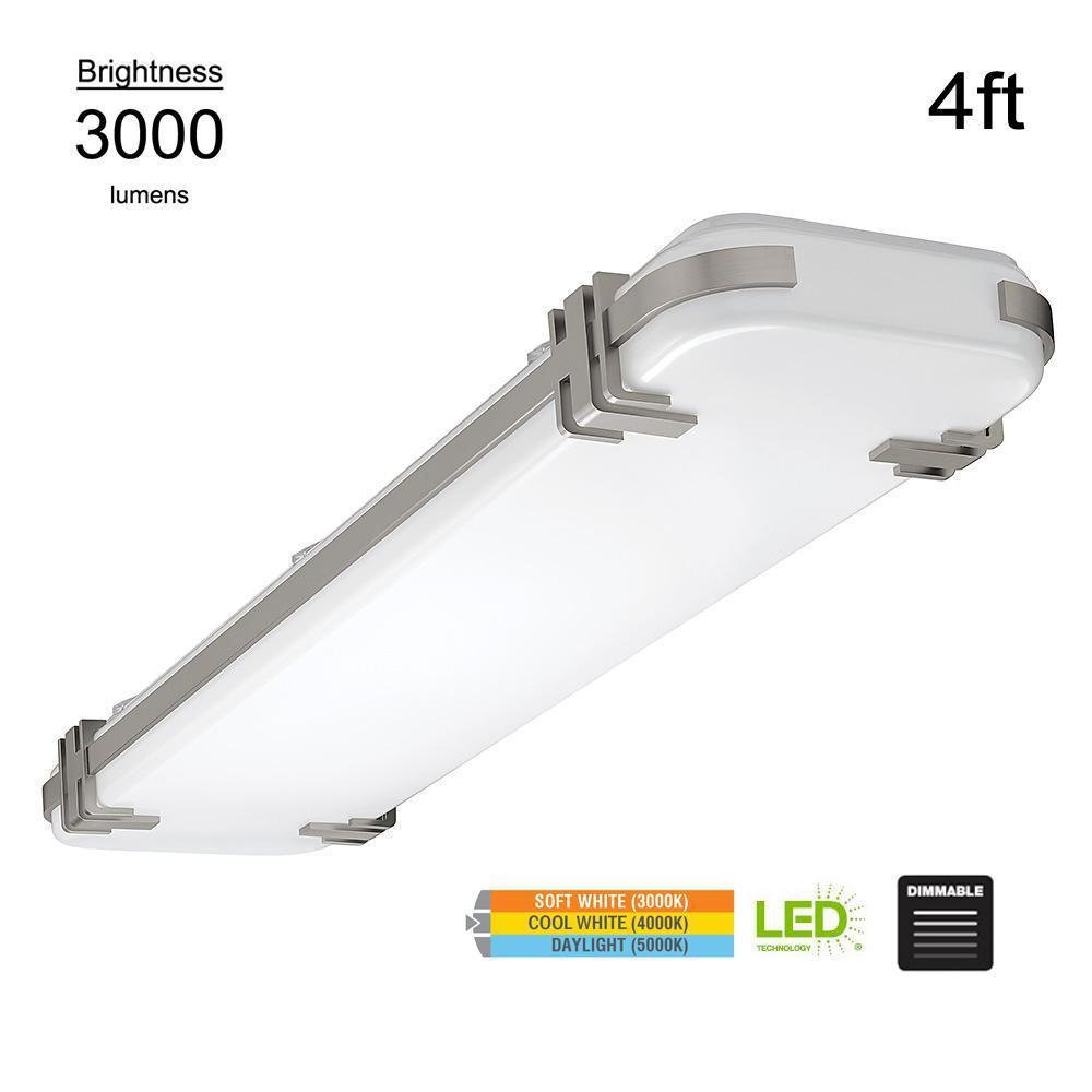 Mission Industrial 48 in. Rectangle Brushed Nickel LED Flush Mount Light 3000 Lumens Dimmable 3000K 4000K 5000K