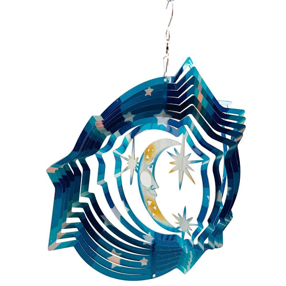 Falkirk Wind 12 in. Stainless Steel Wind Spinner  Mandala Moon Stars in Blue White Yellow