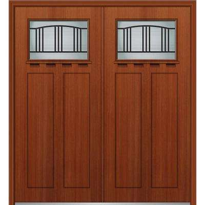 64 in. x 80 in. Madison Left-Hand Inswing 1/4-Lite Decorative Stained Fiberglass Fir Prehung Front Door with Shelf