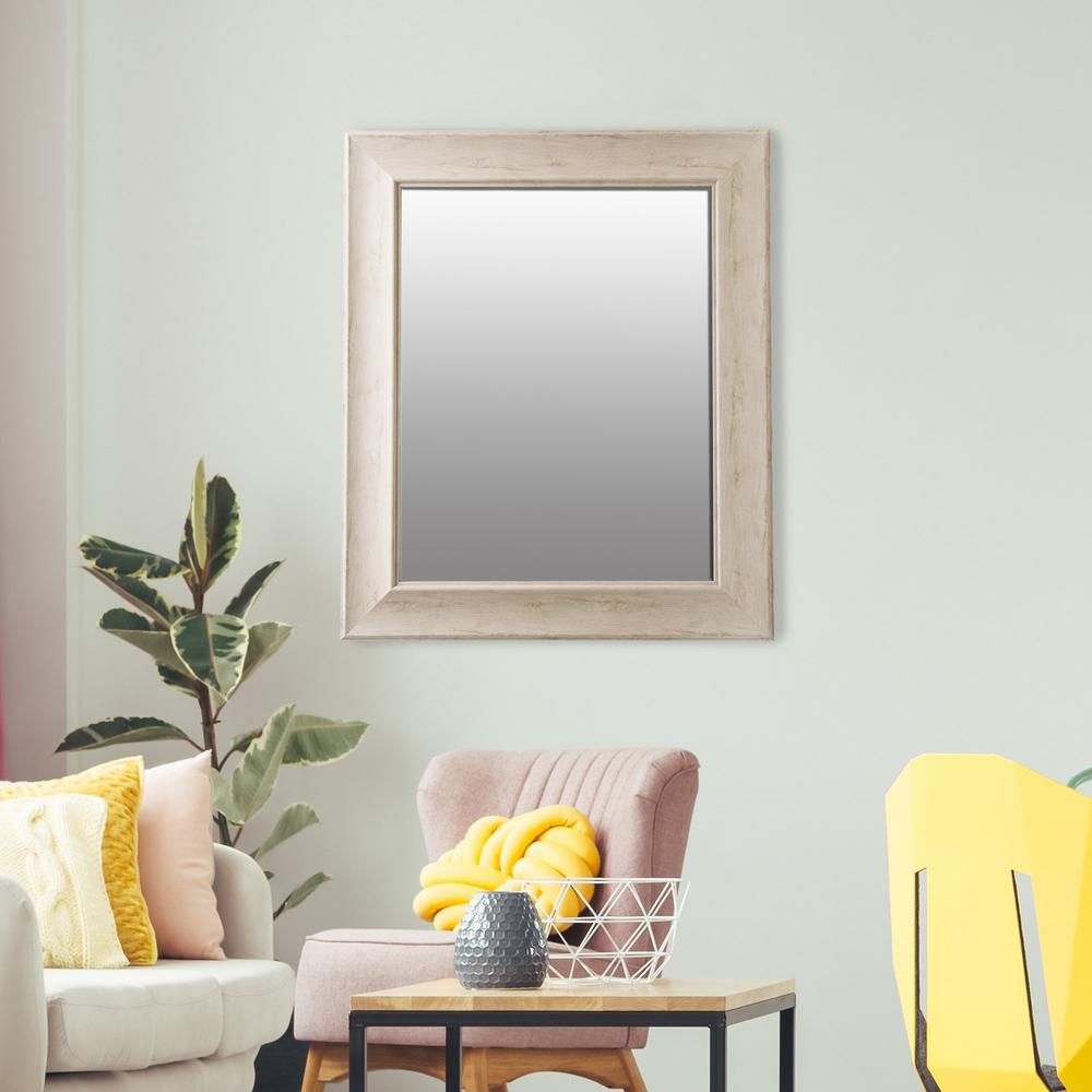 Bainbri Rectangular Beveled White Washed Wall Mirror