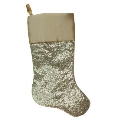 22 in. Golden Metallic Sequined Polyester Christmas Stocking with Satin Cuff