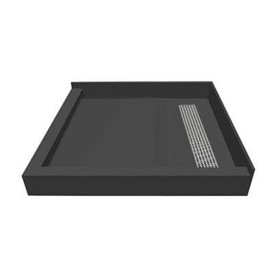42 in. x 42 in. Double Threshold Shower Base with Right Drain and Polished Chrome Trench Grate