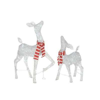 36 in. Christmas Cool White LED Deer with Striped Scarf