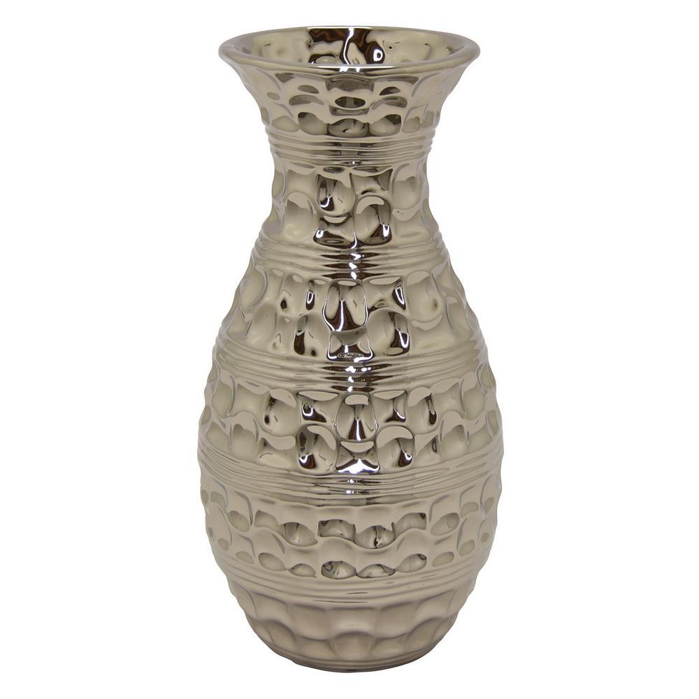 Textured Silver Ceramic Decorative Vase