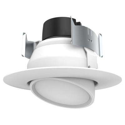 4 in. White Integrated LED Recessed Ceiling Light Fixture Adjustable Gimbal Retrofit Trim