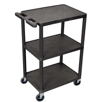 HE 24 in. 3-Shelf Utility Cart in Black