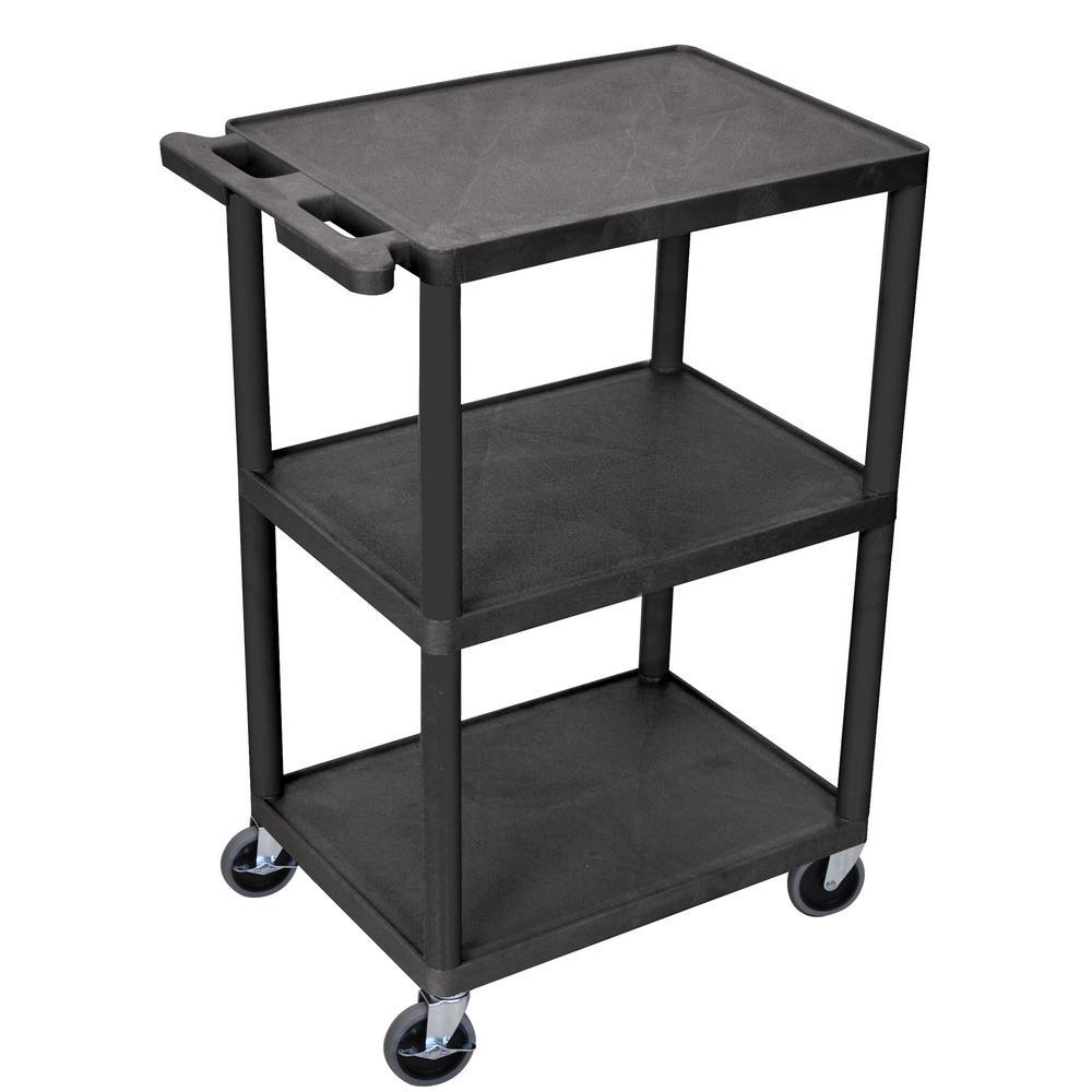 HE 24 in. 3-Shelf Utility Cart in Black