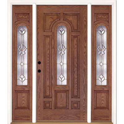 67.5 in.x81.625 in. Medina Brass Center Arch Lt Stained Medium Oak Right-Hand Fiberglass Prehung Front Door w/ Sidelites