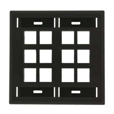 2-Gang QuickPort Standard Size 12-Port Wallplate with ID Windows, Black