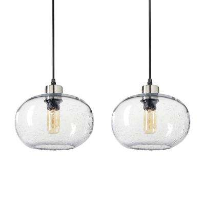9 in. W x 6 in. H 1-Light Nickel Effervescent Hand Blown Glass Pendant Light with Clear Glass Shade (Pack of 2)