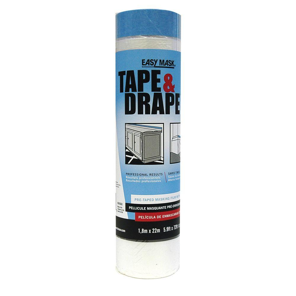Easy Mask 5.9 ft. x 78 ft. 0.5 mil Tape and Drape with Perfect Edge Tape