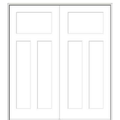 60 in. x 80 in. Smooth Craftsman Both Active Solid Core Primed Molded Composite Double Prehung Interior Door