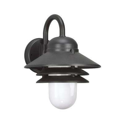 Polycarbonate Outdoor Collection 1-Light Black Outdoor Wall Mount Lantern with LED Bulb