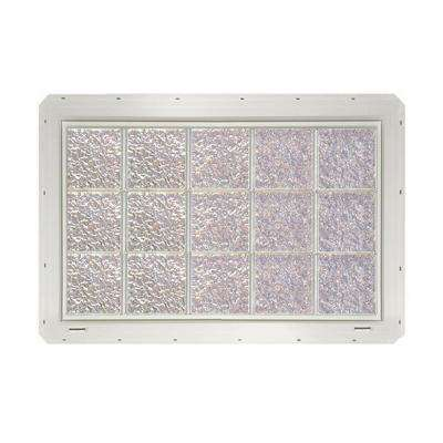 39.25 in. x 24.25 in. x 3.25 in. Ice Pattern Glass Block Window with White Vinyl Nailing Fin