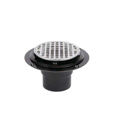 PVC Shower Drain with Round 4-3/16 in. Chrome Strainer
