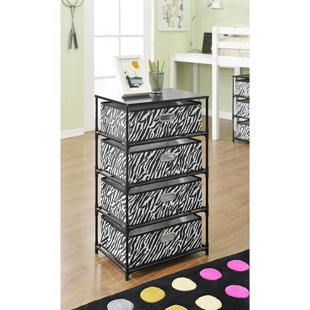 Charming Altra Furniture Zebra Print 4 Bin Storage End Table 7777096   The Home Depot