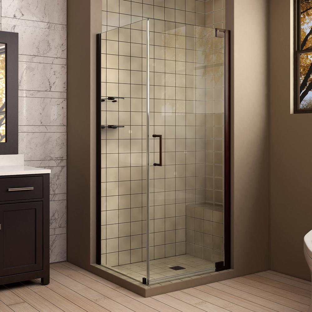 DreamLine Elegance 30 in. x 34 in. x 72 in. Semi-Frameless Pivot Corner Shower Enclosure in Oil Rubbed Bronze with Glass Shelves