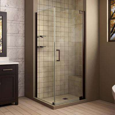 Elegance 30 in. x 34 in. x 72 in. Semi-Frameless Pivot Corner Shower Enclosure in Oil Rubbed Bronze with Glass Shelves