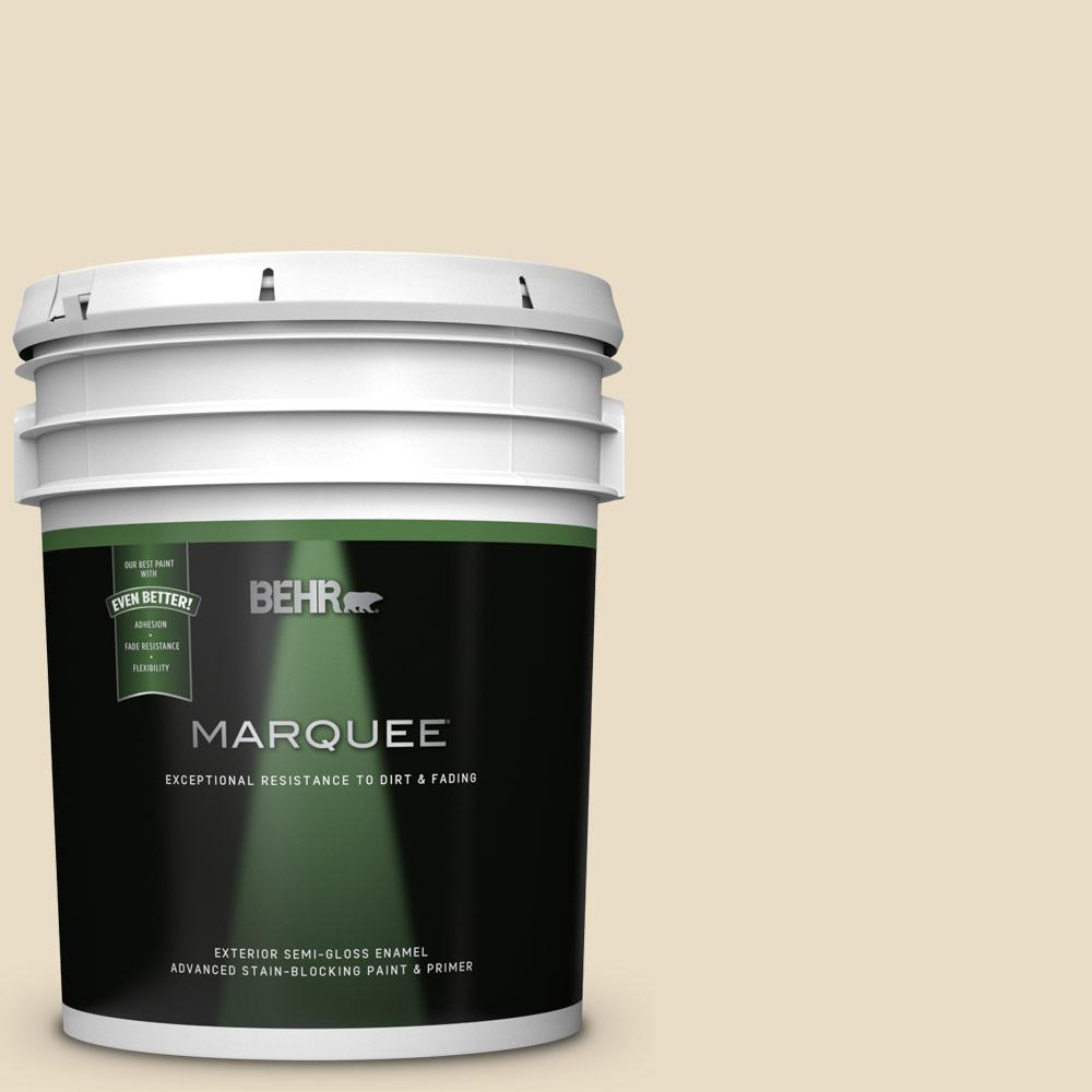 Behr Marquee 5 Gal 22 Navajo White Semi Gloss Exterior Paint And Primer