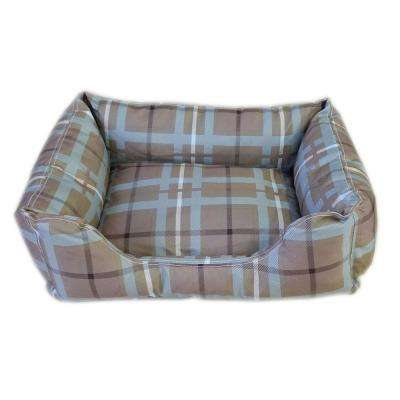Brutus Tuff Kuddle Large Blue/Brown Plaid Lounge Bed