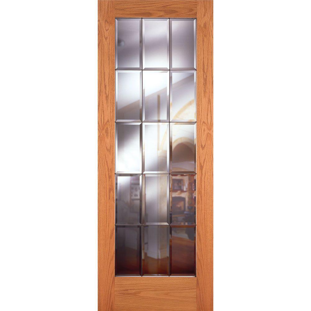 Feather River Doors 32 In X 80 In 15 Lite Unfinished Oak Clear Bevel Zinc Woodgrain Interior