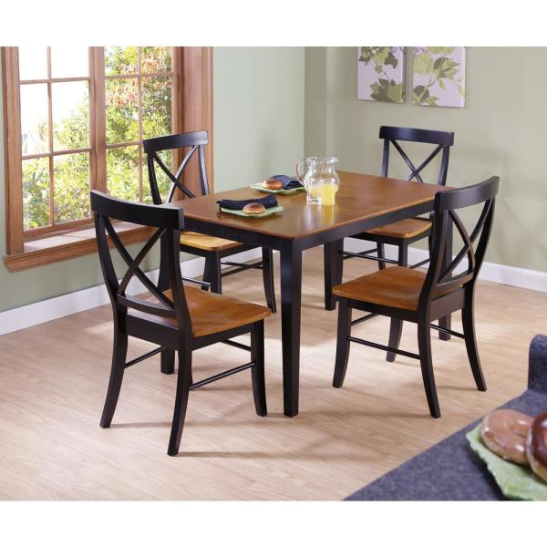 Dining Essentials 5-Piece Black and Cherry Solid Wood Set