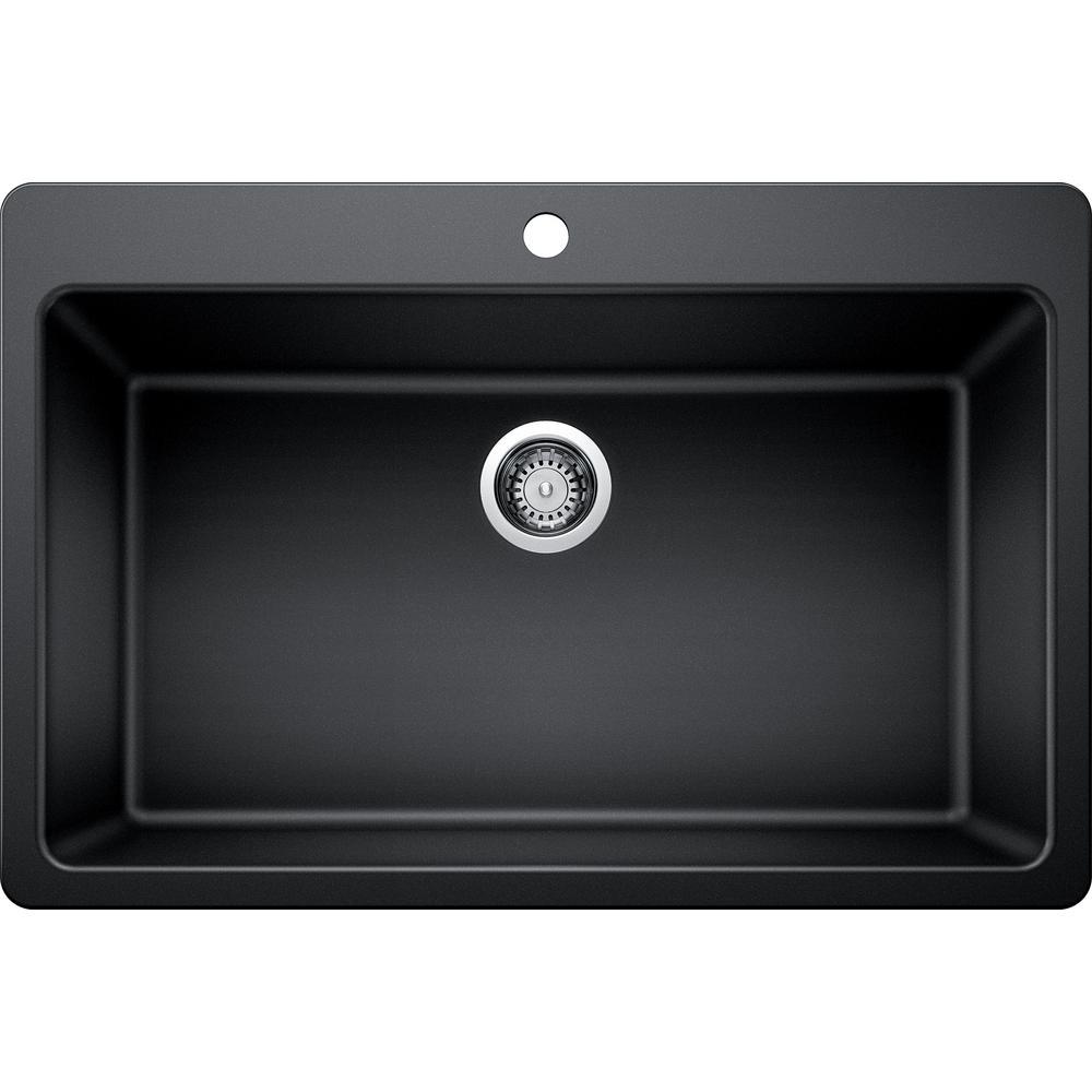 GlacierBay Glacier Bay Dual Mount Granite Composite 33 in. Single Bowl Kitchen Sink in Black