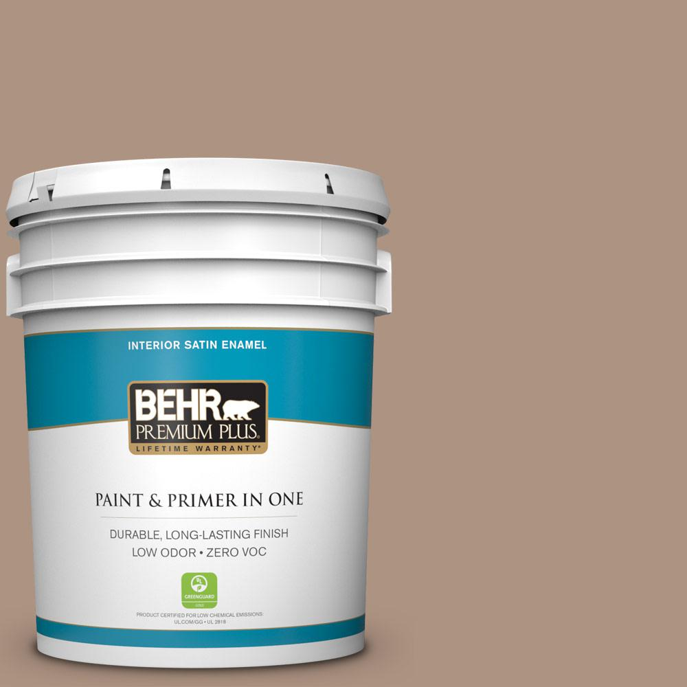 5-gal. #HDC-SP14-5 Mocha Tan Zero VOC Satin Enamel Interior Paint