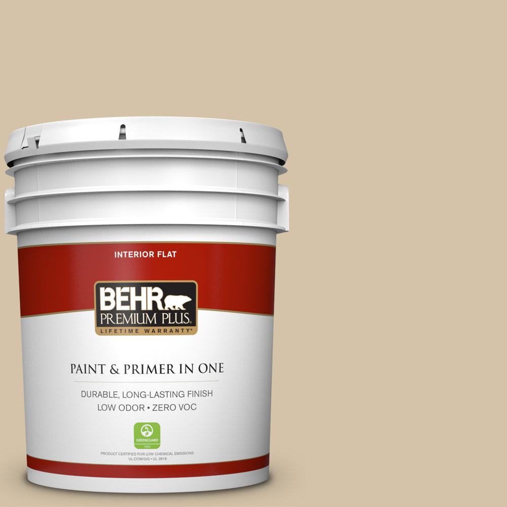 5 gal. #740C-3 Oat Straw Flat Zero VOC Interior Paint and