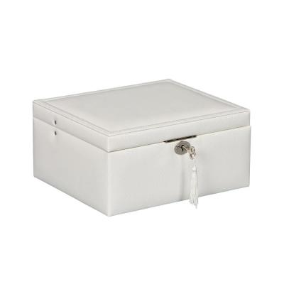 Edith Locking Fashion Jewelry Box in White Snakeskin Faux Leather