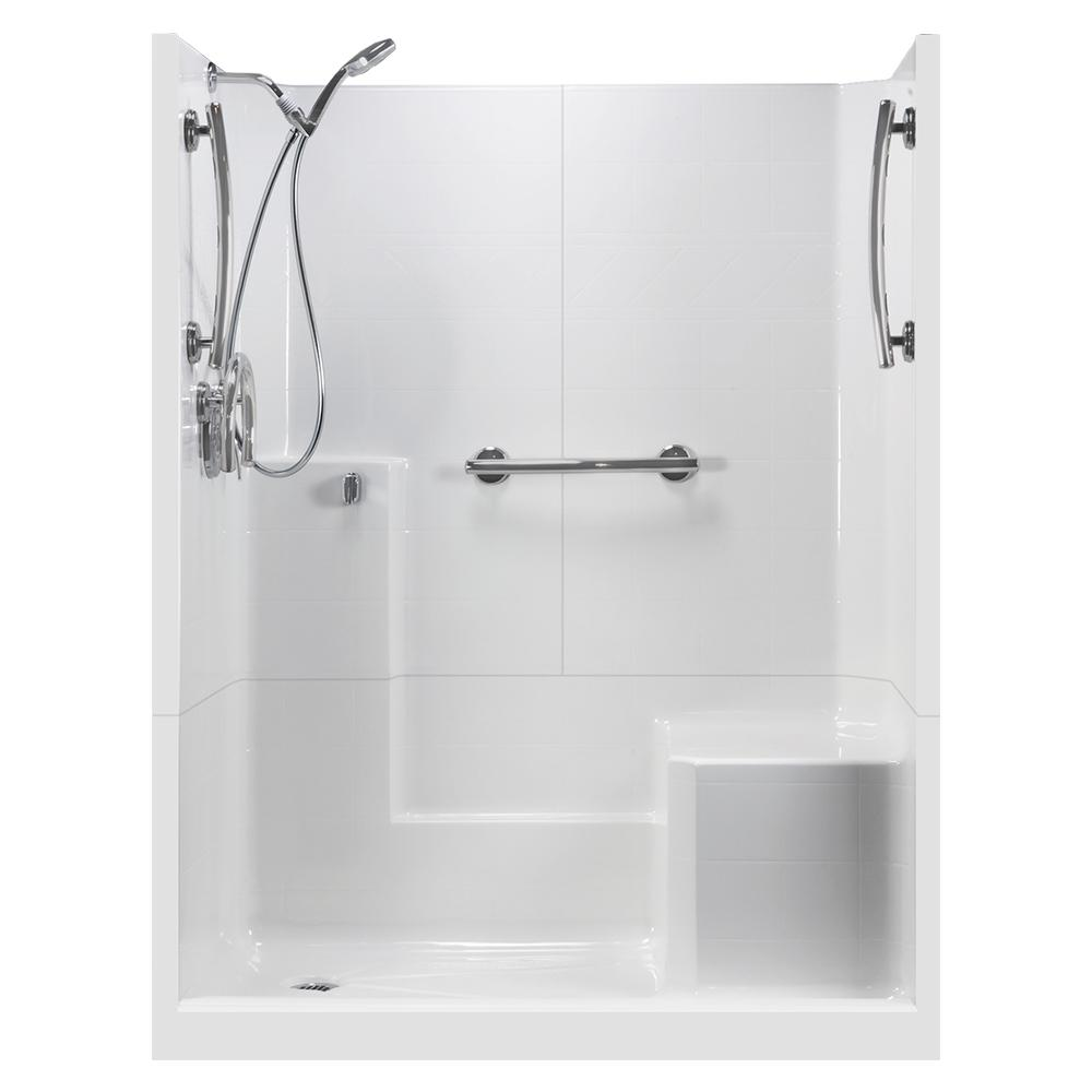 Ella 60 In X 33 In X 77 In Freedom 3 Piece Low Threshold Shower Stall In White Rhs Molded
