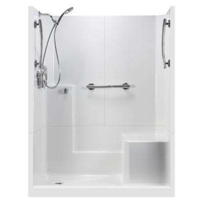 60 in. x 33 in. x 77 in. Freedom 3-Piece Low Threshold Shower Stall in White RHS Molded Seat Accessories Left Drain