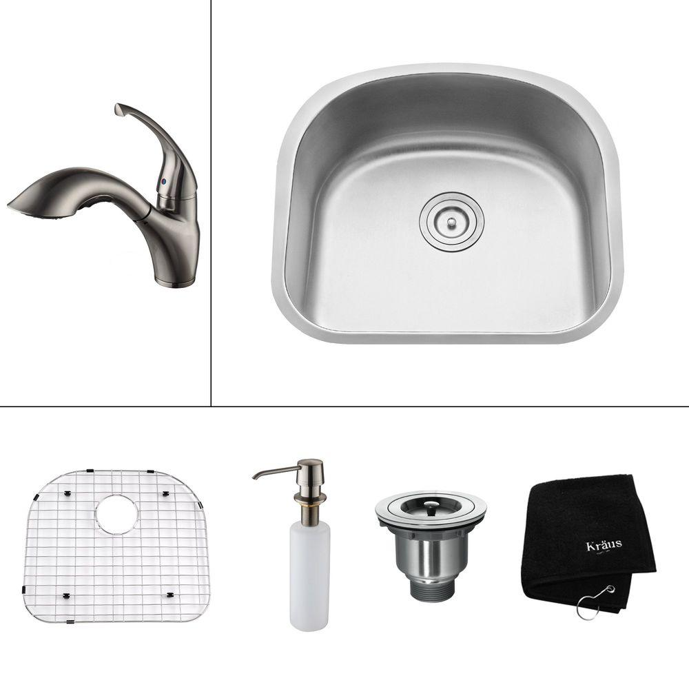 KRAUS All-in-One Undermount Stainless Steel 23 in. 0-Hole Single Bowl Kitchen Sink with Satin Nickel Accessory