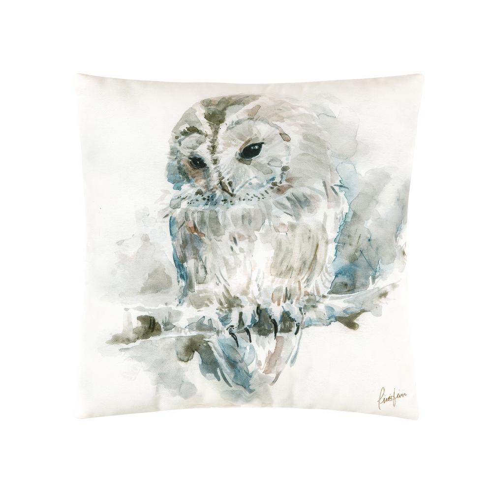 Tan Watercolor Owl Indoor/Outdoor 18 in. x 18 in. Standard Throw Pillow