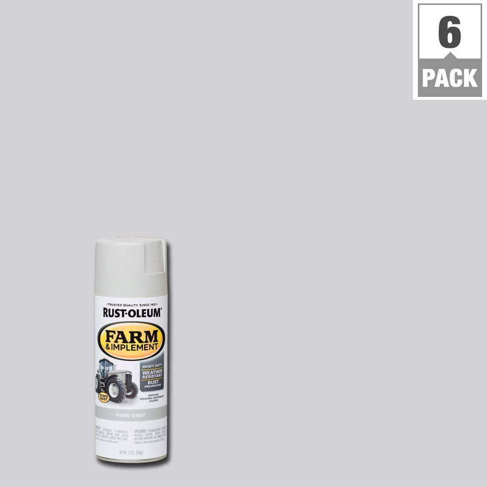 12 oz. Farm & Implement Ford Gray Enamel Spray Paint (6-Pack)