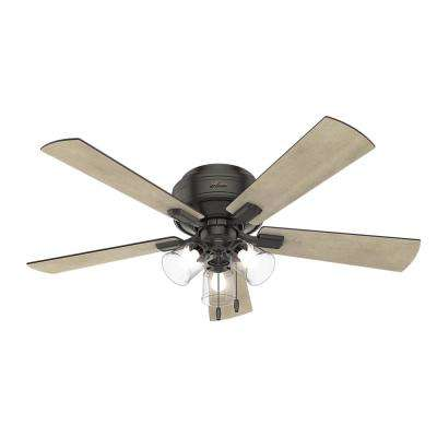 Crestfield 52 in. LED Indoor Low Profile Noble Bronze Ceiling Fan with 3-Light Kit
