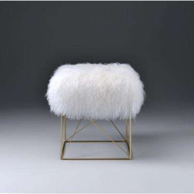 Bagley White and Gold Accent Ottoman