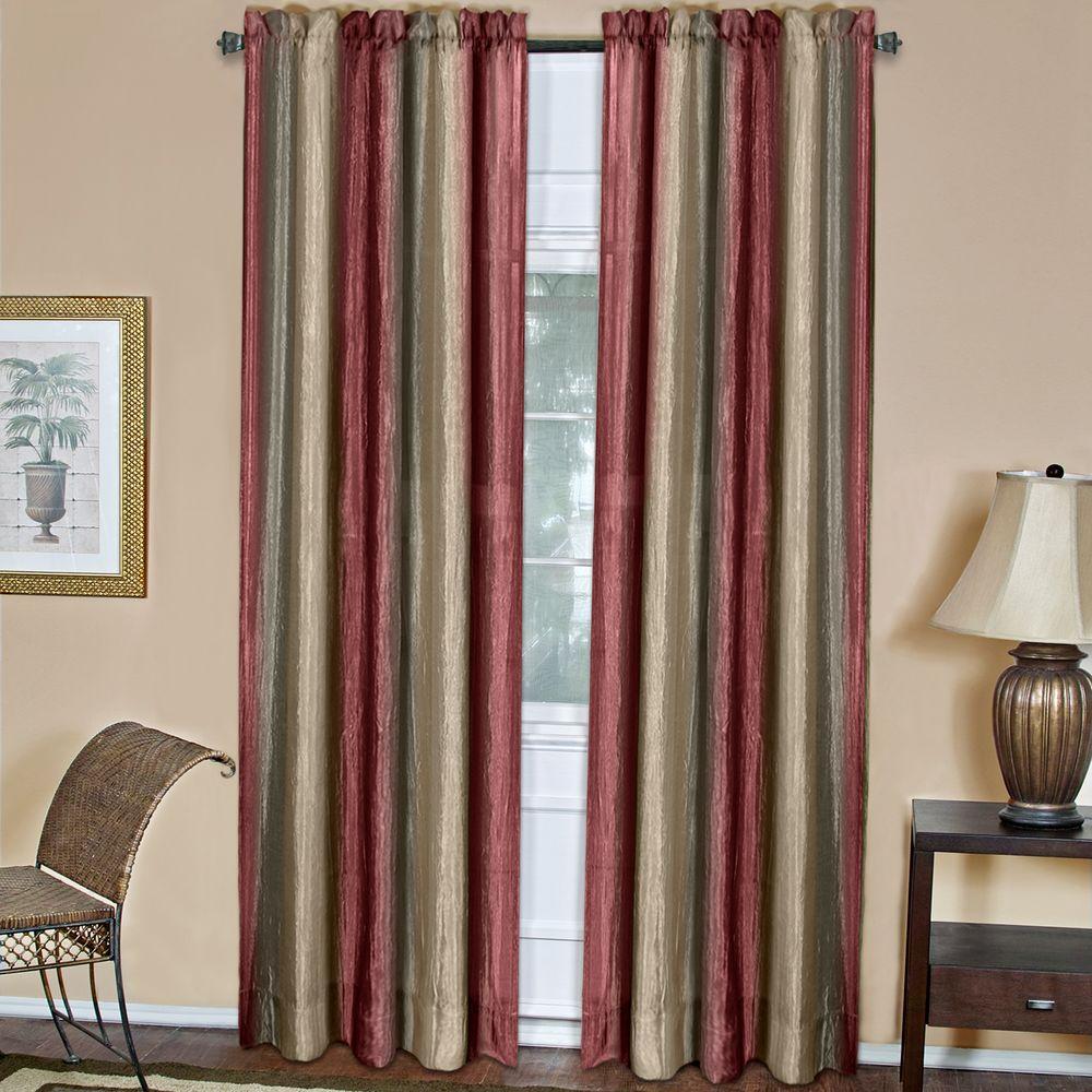 Achim Semi-Opaque Ombre 50 in. W x 63 in. L Curtain Panel in Burgundy