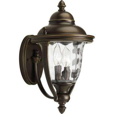 Prestwick Collection 2-Light Oil-Rubbed Bronze 13.9 in. Outdoor Wall Lantern Sconce
