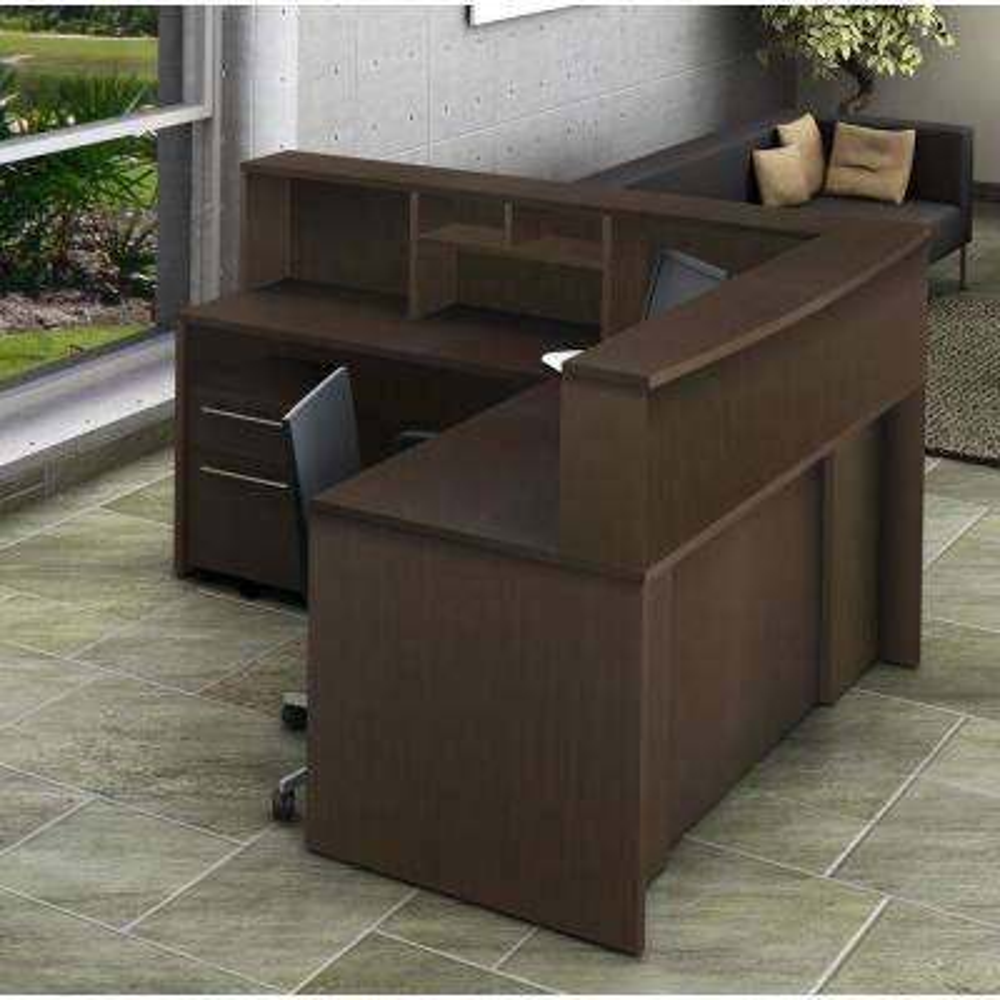 5-Piece Espresso Office Reception Desk Collaboration Center