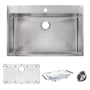 Franke Vector All-in-One Dual Mount Stainless Steel 33 inch 1-Hole Single Bowl Kitchen Sink Kit by Franke