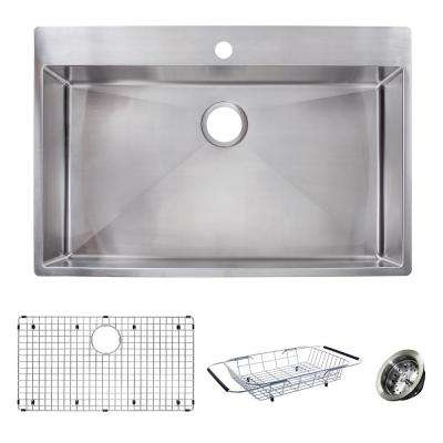 Vector All-in-One Dual Mount Stainless Steel 33 in. 1-Hole Single Bowl Kitchen Sink Kit