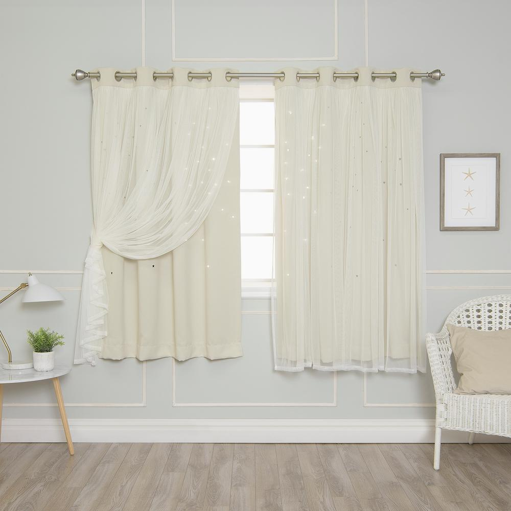 Best Home Fashion 63 in. L Ivory Tulle Overlay Star Cut Out Blackout Curtain Panel  (2-Pack)
