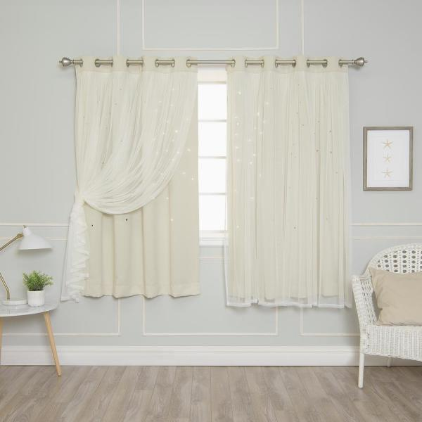 63 in. L Ivory Tulle Overlay Star Cut Out Blackout Curtain Panel  (2-Pack)